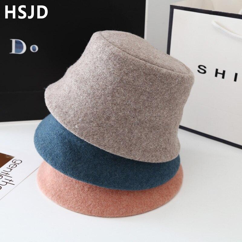 Модная женская зимняя шапка, однотонные шерстяные Панамы, Осенние Теплые Панамы, женские кепки в рыбацком стиле, шапка для отдыха на открыто...