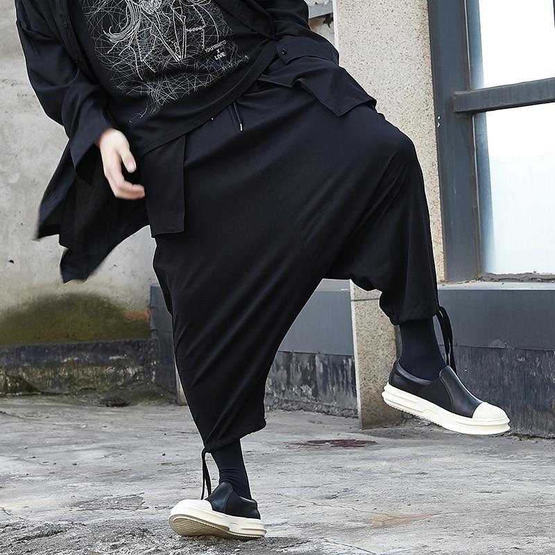 الرجال تسع دقائق السراويل الربيع/الصيف موضة ياماموتو الرياح الأسود الداكن الرجال منخفضة المنشعب السراويل الفضفاضة السراويل الساق الصغيرة