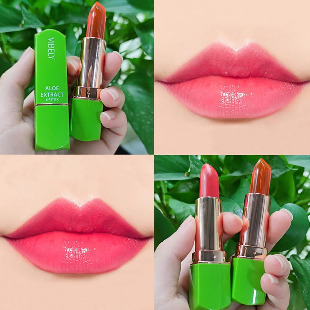 7 Colors Aloe Vera Jelly Lipstick Color Change Lasting Hydrating Moisturizing Lip Gloss Pink Color M