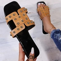 rivet flat one word with fashion slippers women 2021 summer casual square head light concise open toed punk beach women slides