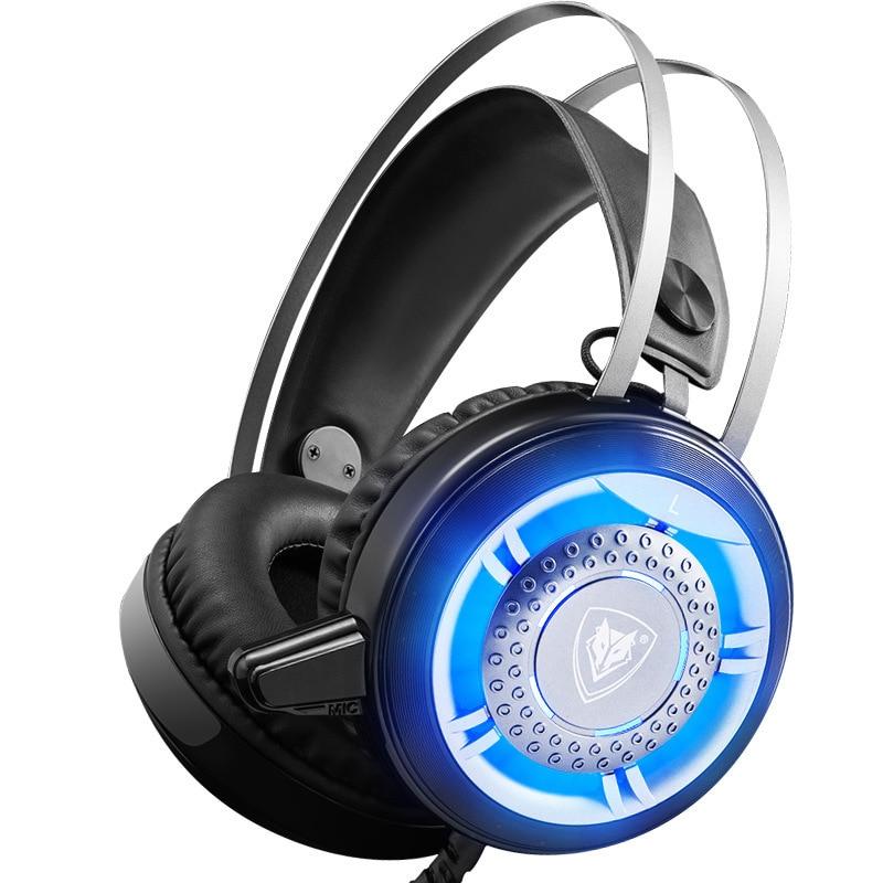 Auriculares con cable para juegos, auriculares estéreo, auriculares de Metal profesionales con micrófono, cancelación de ruido LED retroiluminada para ordenador portátil