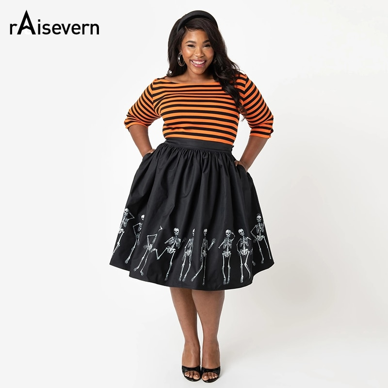 Raisevern 2019 falda mujer alta cintura Halloween tutú Saia calavera estampado Polka Dot señoras patinadora Swing Vintage faldas talla grande