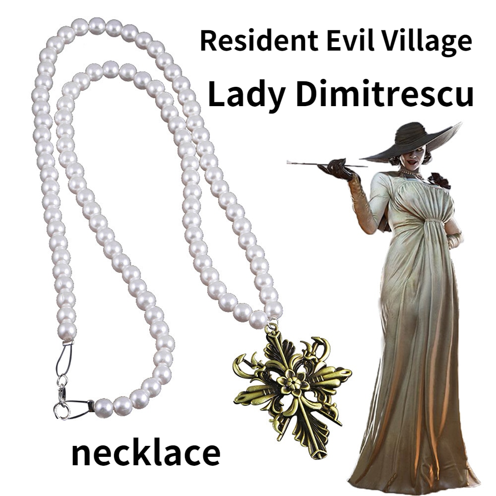 Game Resident Village Evil 8 Lady Dimitrescu Cosplay Necklace Vampire Costumes Accessories Halloween