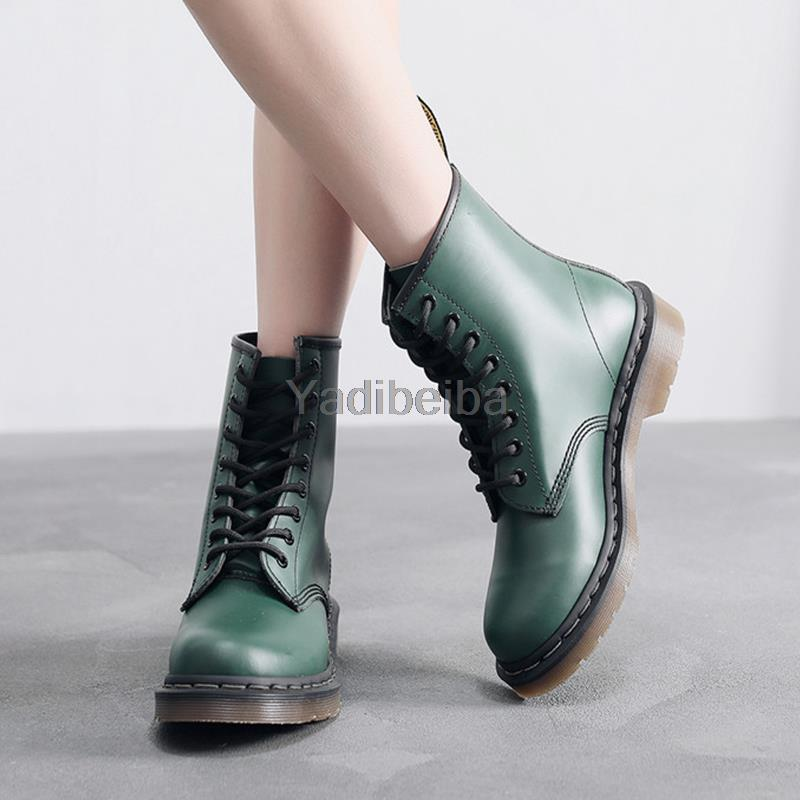 Genuine Leather Ladies Martins Women Boots Lace Up Low Heel Casual Ankle Boots For Students Shoes Woman Leather Short Boots