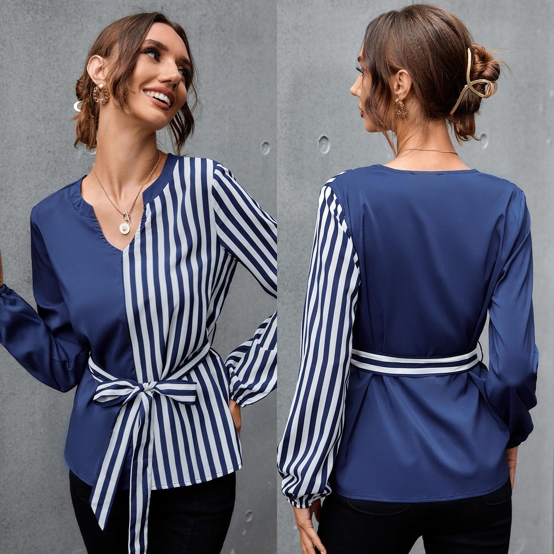 Женская блузка в полоску, Повседневная Свободная офисная блузка, на осень, 2021 блузка в полоску