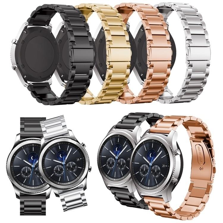 Pulseira de Relógio de Substituição para Samsung Pulseira para Huami Gear Alta Qualidade Luxo Aço Inoxidável Três Grânulo Amazfit s3