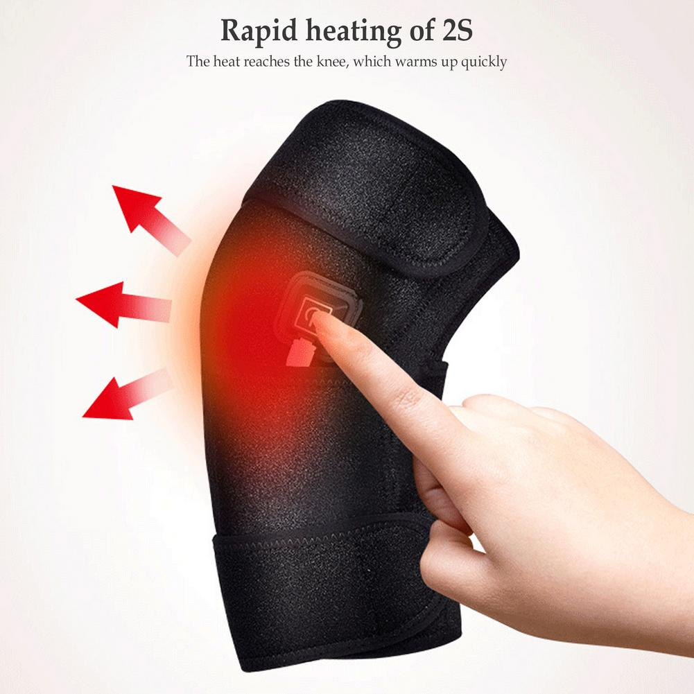 3-speed Temperature Heated Knee Pads Breathable USB Charging Electric Knee Therapy Brace Thermal Heating Knee Massager Support hanriver electric heating moxa spontaneous hot tsao apply to protect the knee joints physical therapy product package