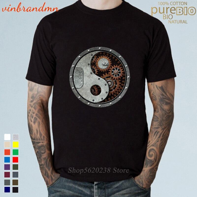 Camisetas de estilo chino Steampunk Industrial China Yin Yang, camisetas de diseño...