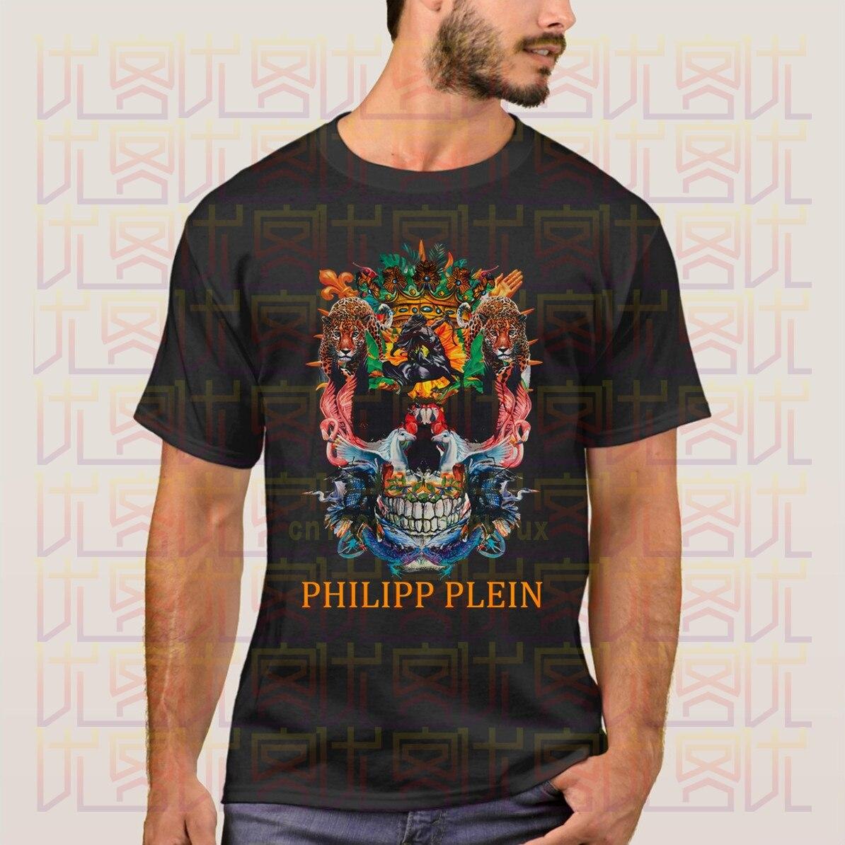 Camiseta Retro con estampado de calavera y animales de estilo Retro, camiseta informal de manga corta para hombre, ropa de calle, nuevas camisetas informales Plein Amazing