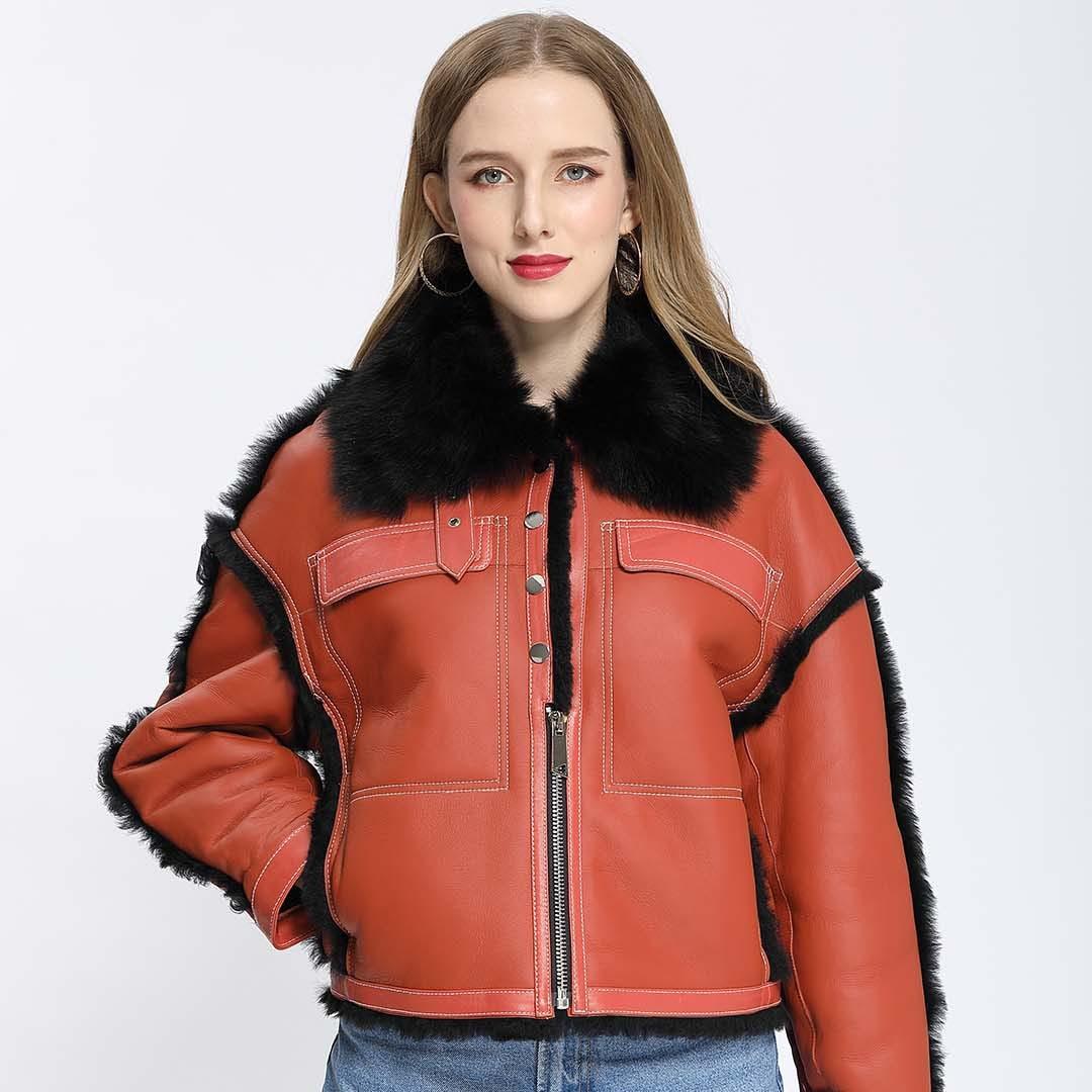 معطف نسائي من الصوف بتصميم عصري مزود بسحّاب من الصوف معطف نسائي متكامل ذو جودة عالية بإبزيم