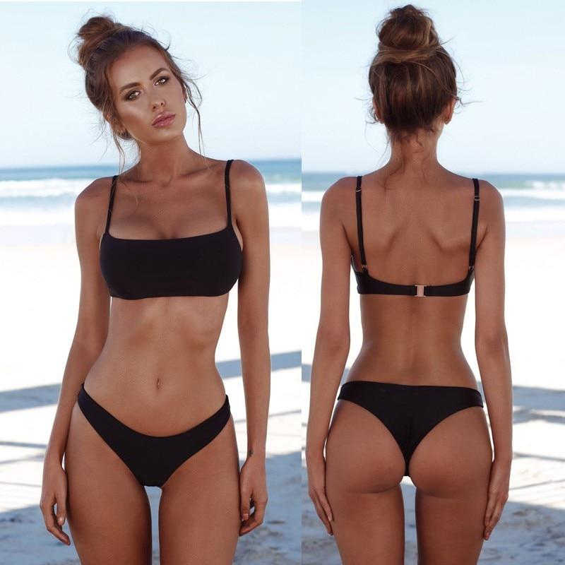 2020 Summer Bikini Set Swimwear Women Solid Sexy Beach Wear Low Waist Biquini Badpak Dames Bikini Set