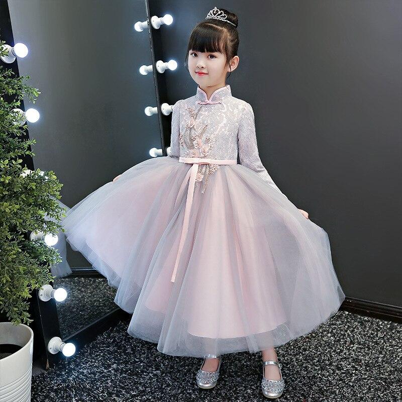 Fancy Long Girls Dress with Sleeves 2020 New Chinese Style Autumn Clothing Teen Cheongsam Birthday Dress Children Princess Dress