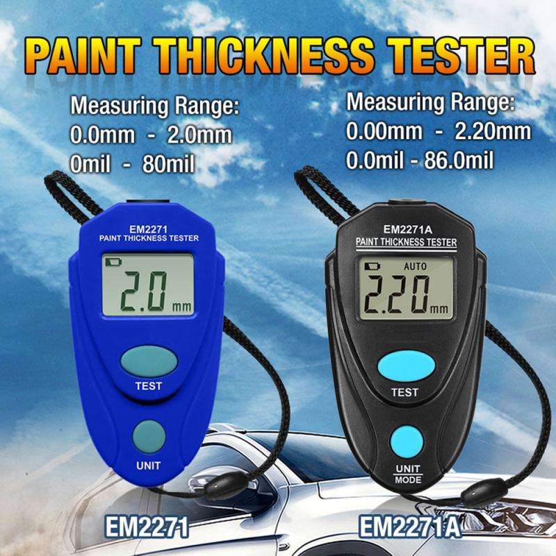 Em2271 em2271a digital mini medidor de espessura de automóvel, testador de pintura de carro, medidor de espessura, acessórios de ferramentas de medidor de carro