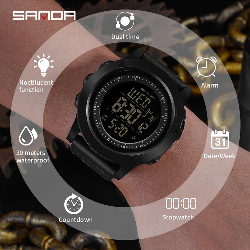 SANDA Sport Digital Watches Men Top Brand Luxury Famous Military Alarm Wrist Watches For Male Electronic Clock Relogio Masculino enlarge
