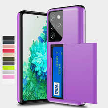 Slide Card Slots Holder Case For Samsung Galaxy S21 S30 S20 FE Note 20 Ultra 10 9 8 S10 5G S9 S8 Plus S10E S21+ Case Cover Funda