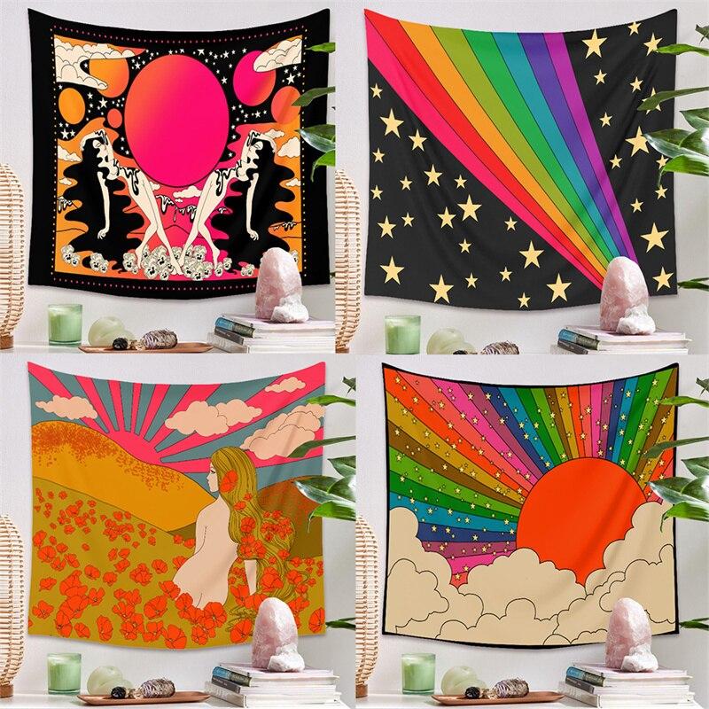 80s эстетическое Ins Стиль гобелен настенный розовый домашний Настенный декор психоделические гобелен настенный Декор Гостиная Спальня в бог...