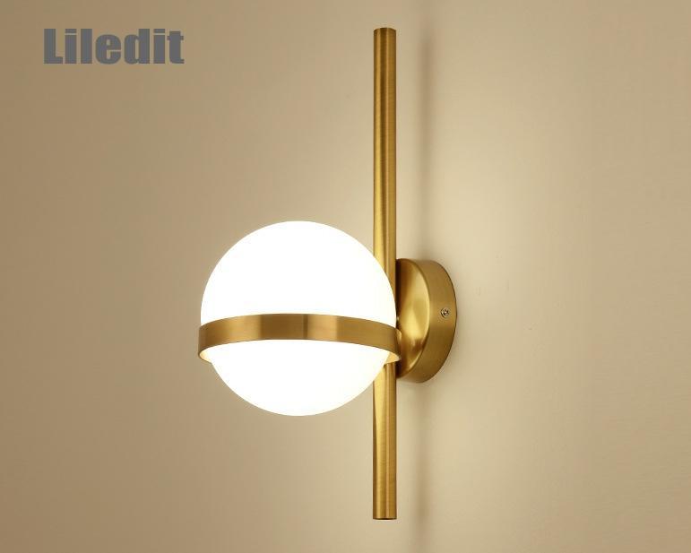 Современный стеклянный шар, настенный светильник, скандинавский Золотой кованый светильник для гостиной, прикроватный настенный светильн...