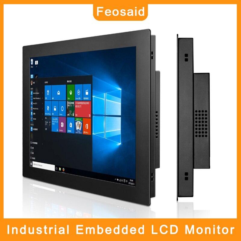 Monitor de pantalla LCD para ordenador Industrial de 17 pulgadas Feosaid, pantalla táctil resistente de 17 pulgadas con entradas VGA/HDMI/DVI, Monitor para tableta