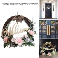 welcome sign wreath front door hanger with bow round outdoor hanging decoration for home vertical sign 9 8 inch hk3