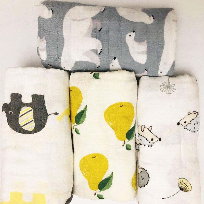 Детское муслиновое одеяло из 100% бамбука, 210 г, 70% бамбука + 30% хлопка