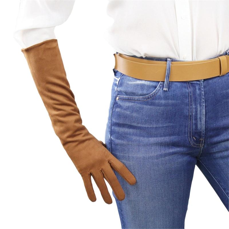 40cm Suede Long Gloves Medium And Long Section Brown Caramel Scrub Suede Emulation Leather Sheepskin Female Free Shipping WJP07 недорого