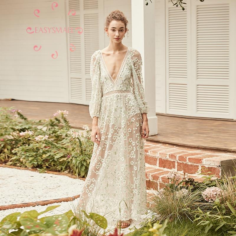 EASYSMALL para el amor limones mujeres vestido bordado flor malla alta gama fiesta noche streetwear alta cintura sin mangas vestidos