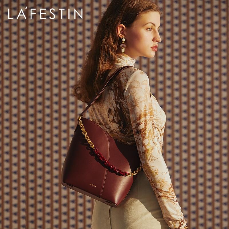 LA FESTIN Bags for Women 2021 New Trendy Retro Large Capacity Bucket Bag Fashion Shoulder Messenger