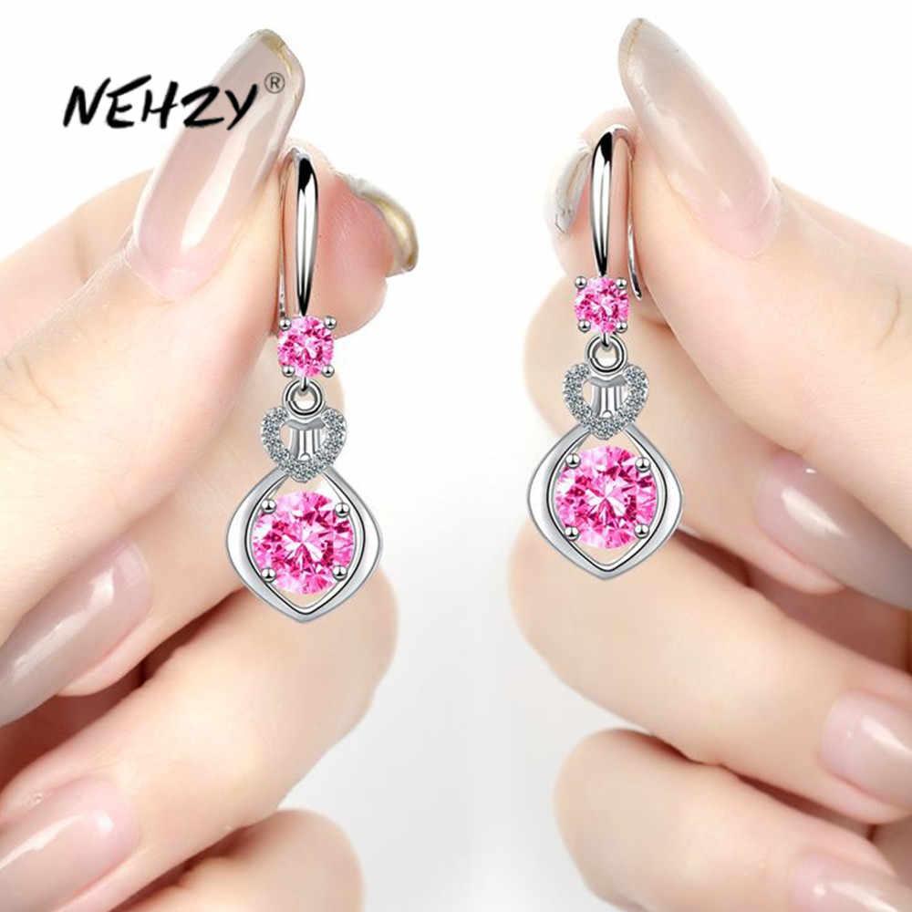 Nehzy 925 Sterling Silver New Woman Fashion Jewelry High Quality Purple Pink Blue White Crystal Zircon Long Tassel Earrings Drop Earrings Aliexpress