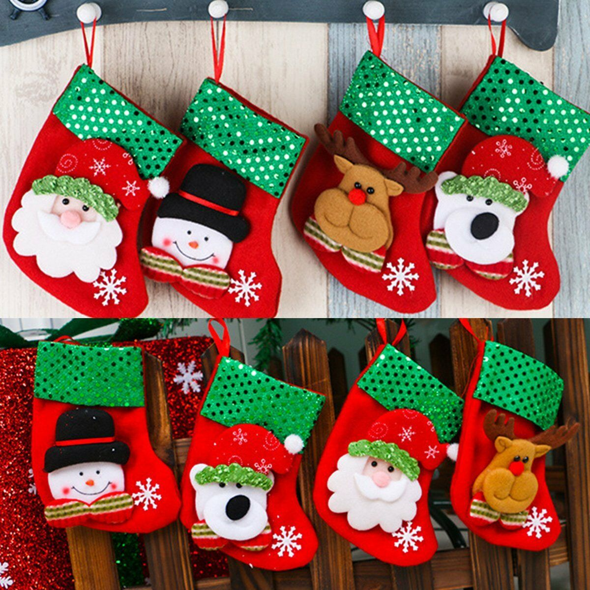 Christmas Socks Santa Claus Snowman Elk Candy Gift Bag Sock Xmas Christmas Bags Hanging Decor недорого