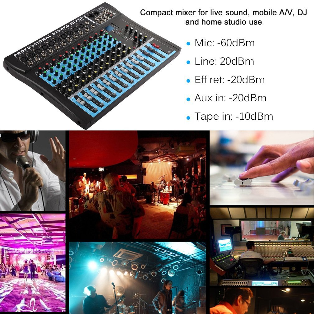 CT12 10 Mono & 2 Stereo Input 12 Channel Professional USB Mixer Console High & Middle & Low 3-bands Vocal Effect Processor enlarge