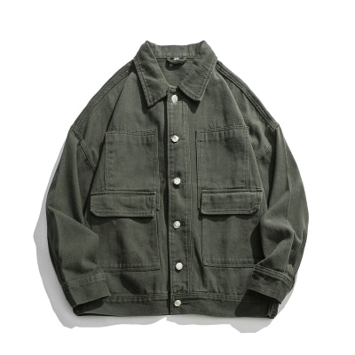 han Men's autumn retro solid color washed jacket youth trend all-match loose jacket