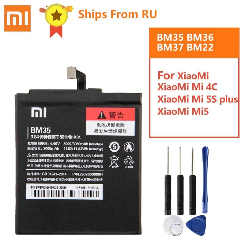 Оригинальная запасная батарея BM35 для Xiaomi Mi 4C Mi4c Mi 5S MI5S BM36 Mi 5S plus 5Splus BM37 Xiaomi 5 Mi5 M5 Prime BM22