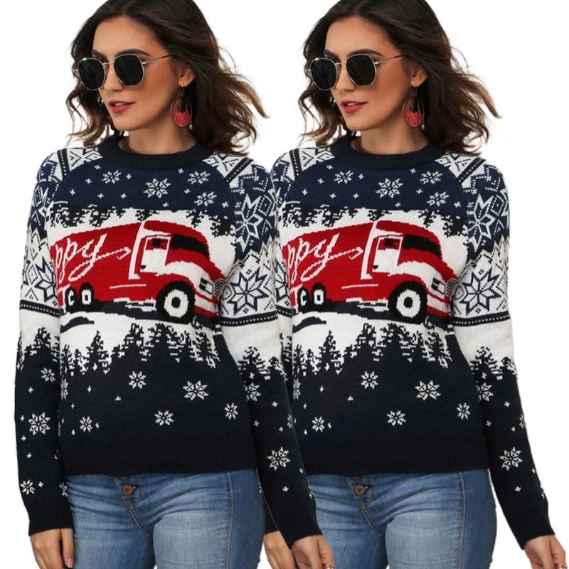 Women Christmas Long Sleeve Sweater Snowflake Jacquard O-Neck Jumper Tops enlarge