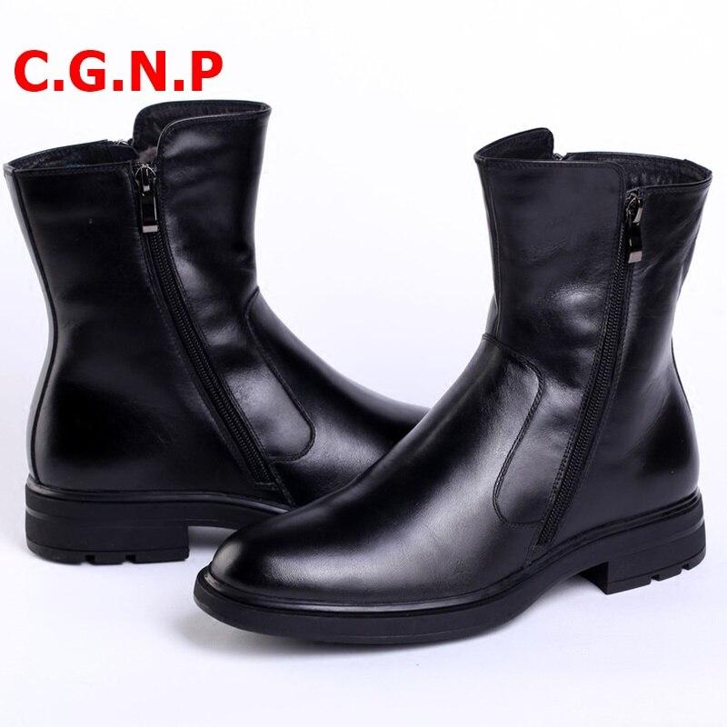 Купить с кэшбэком C.G.N.P Mens Ankle Boots Black Genuine Leather Plush Lining Warm Winter Boots Fashion Winter Men Leather Shoes Cowboy Boots