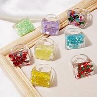 2021 korea colorful fashion resin fruit ring set for women girls new design strawberry lemon finger rings jewelry party gifts