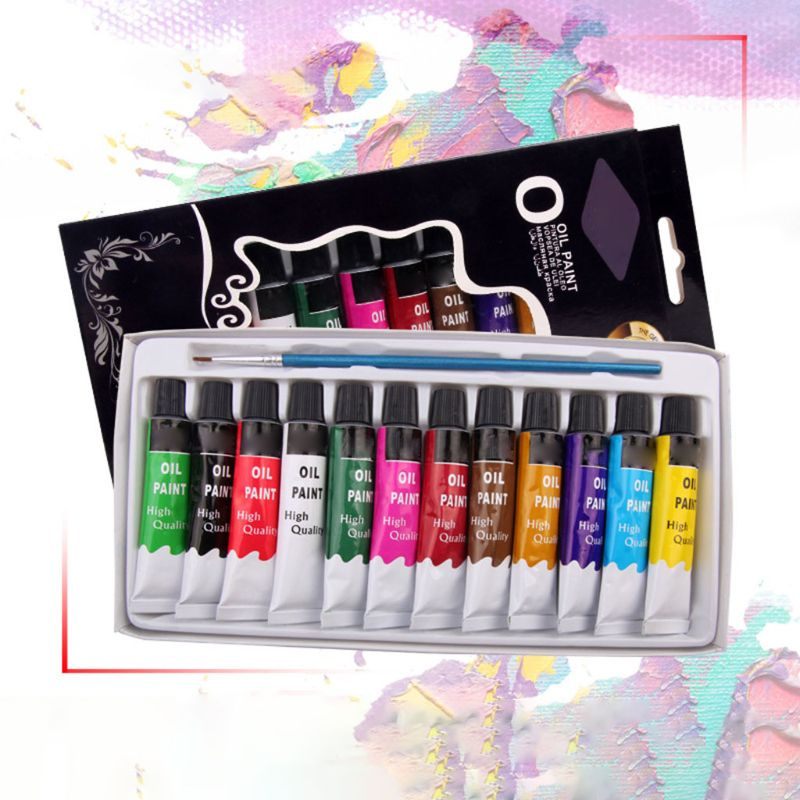 12 Colors Oil Painting Paint Drawing Pigment 12ml Tubes with Brush Art Supplies G8TA enlarge