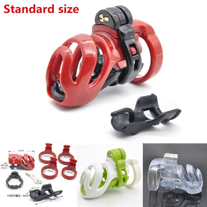 Dispositivo de Castidad masculino estándar de resina de diseño 3D con bloqueo PA, jaula para pene con anillos de tamaño 4, cerradura para pene, Juguetes sexuales para adultos para hombres