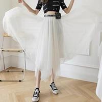 women midi tulle skirts casual high waist asymmetrical layered a line tutu skirt with belt bag