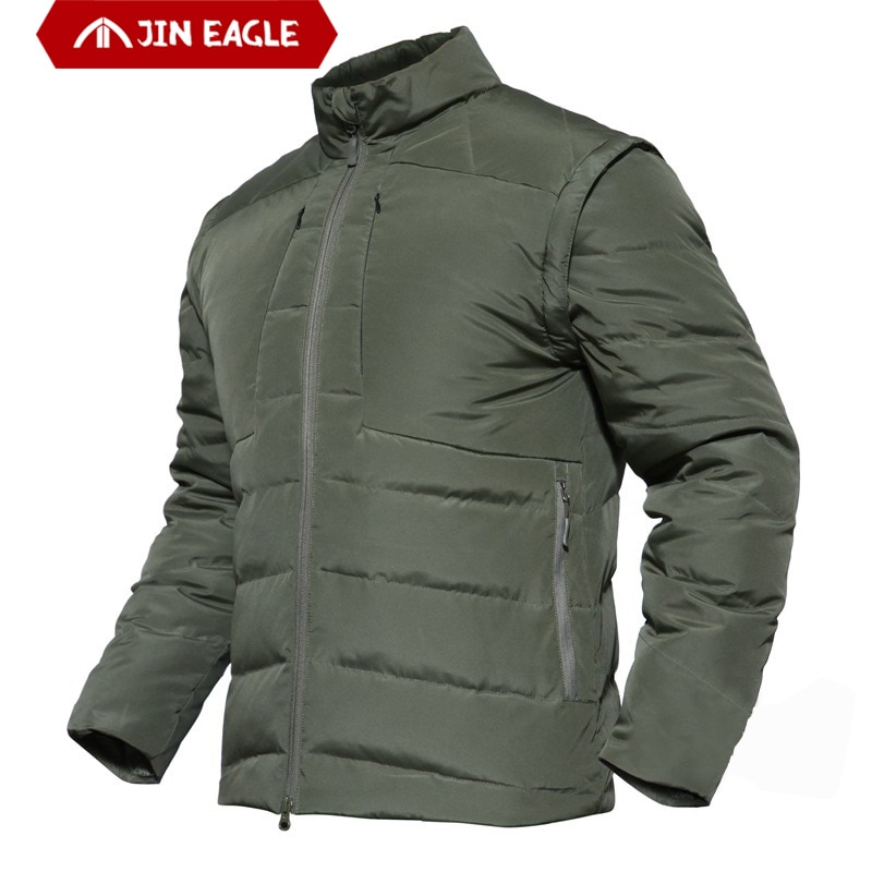 JIN EAGLE Mens  Jacket Winter 90% White Duck Down Clothing Thermal Breathable Tactical Men Coat jaqueta masculino chaqueta
