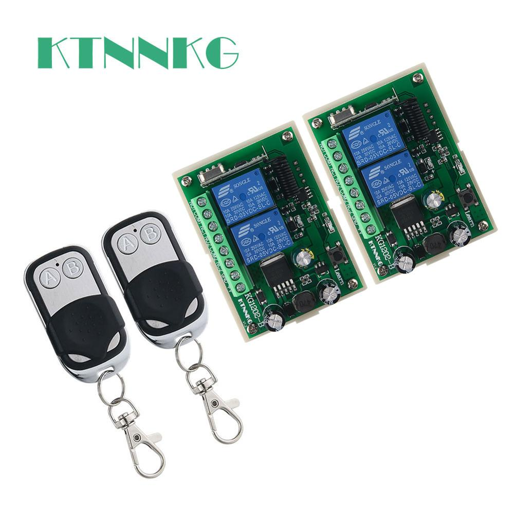 Interruptor de mando inalámbrico de radiofrecuencia DC12V 2CH transmisor de 2 botones + receptor 433MHz adecuado para garaje, Control de acceso