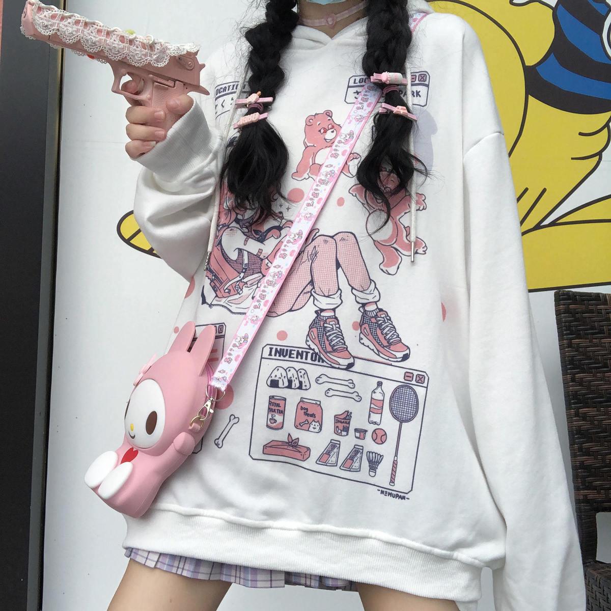 Kawaii Cartoon Anime Harajuku Hoodie Women Ulzzang Spring Japan Cute Sweatshirt Fashion Loose Casual Oversize Women'S Top Hoodie