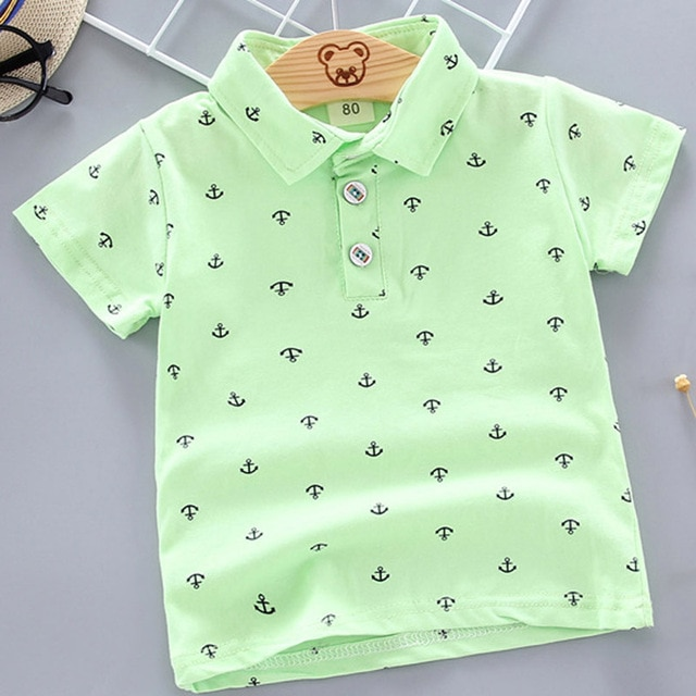 2021 Summer Baby Boys Polo Shirts Short Sleeve Anchor Lapel Clothes for Girls Odell Cotton Breathable Kids Tops Outwear 12M-5Y 4