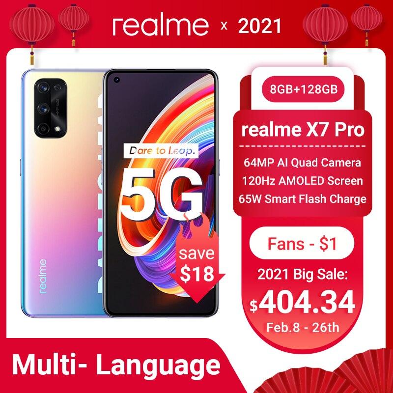 Перейти на Алиэкспресс и купить Realme X7 Pro 5G смартфон 8 ГБ 128 6,55 дюймов 120 Гц активно-матричные осид, Экран 64MP Quad камеры 4500 мА/ч, 65 Вт быстро Зарядное устройство Dimensity 1000 NFC