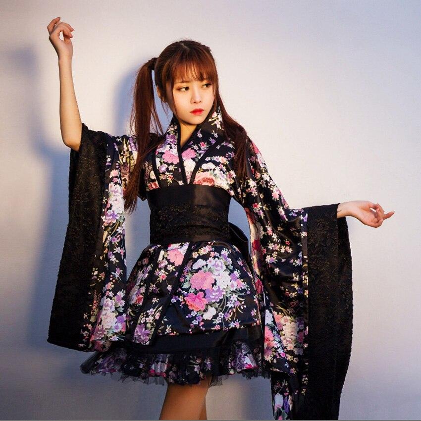 Японские костюмы Лолиты для девочек-подростков, кимоно, платье, одежда с цветочным рисунком, Национальный готический костюм JK, косплей на Хэ...