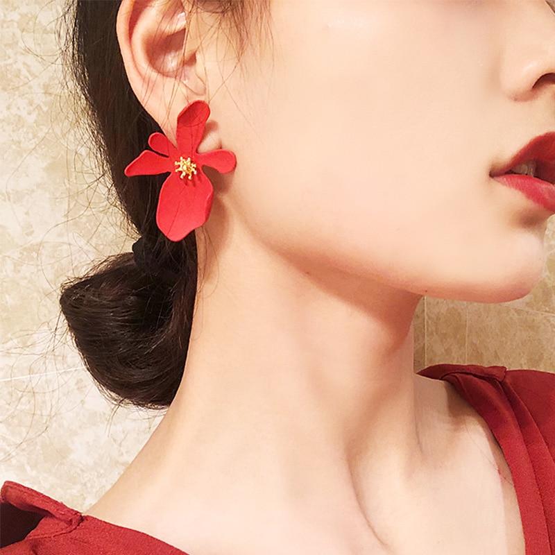 Encanto coreano elegante flor grande 2019 pendientes de joyería de moda lindo declaración pendiente mujer acrílico perla pendientes para niñas regalo