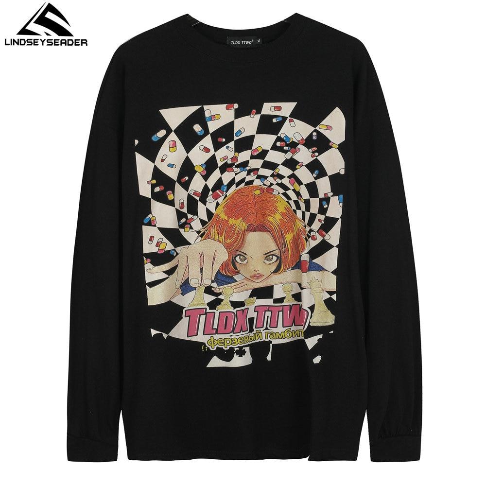 T-shirt manches longues pour homme, Streetwear surdimensionné, imprimé, Hip Hop, Harajuku, en coton, automne