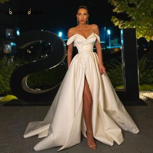 Satin Off The Shoulder White Evening Dress Sweetheart Split A-Line Long Formal Party Gown Prom Dress Vestido De Fiesta