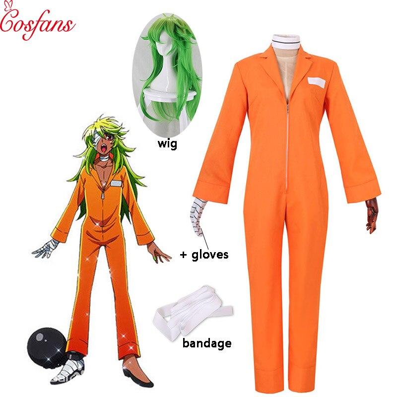 Nueva casa de detención Nanbaka Niko n. ° 25 ropa de prisión mujeres hombres Cosplay disfraz Halloween Cosplay peluca y guantes vendaje