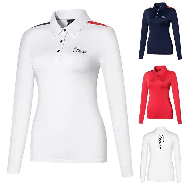 Одежда для гольфа, Женская облегающая футболка с длинным рукавом, уличная спортивная одежда, быстросохнущая дышащая впитывающая Поло рубаш...