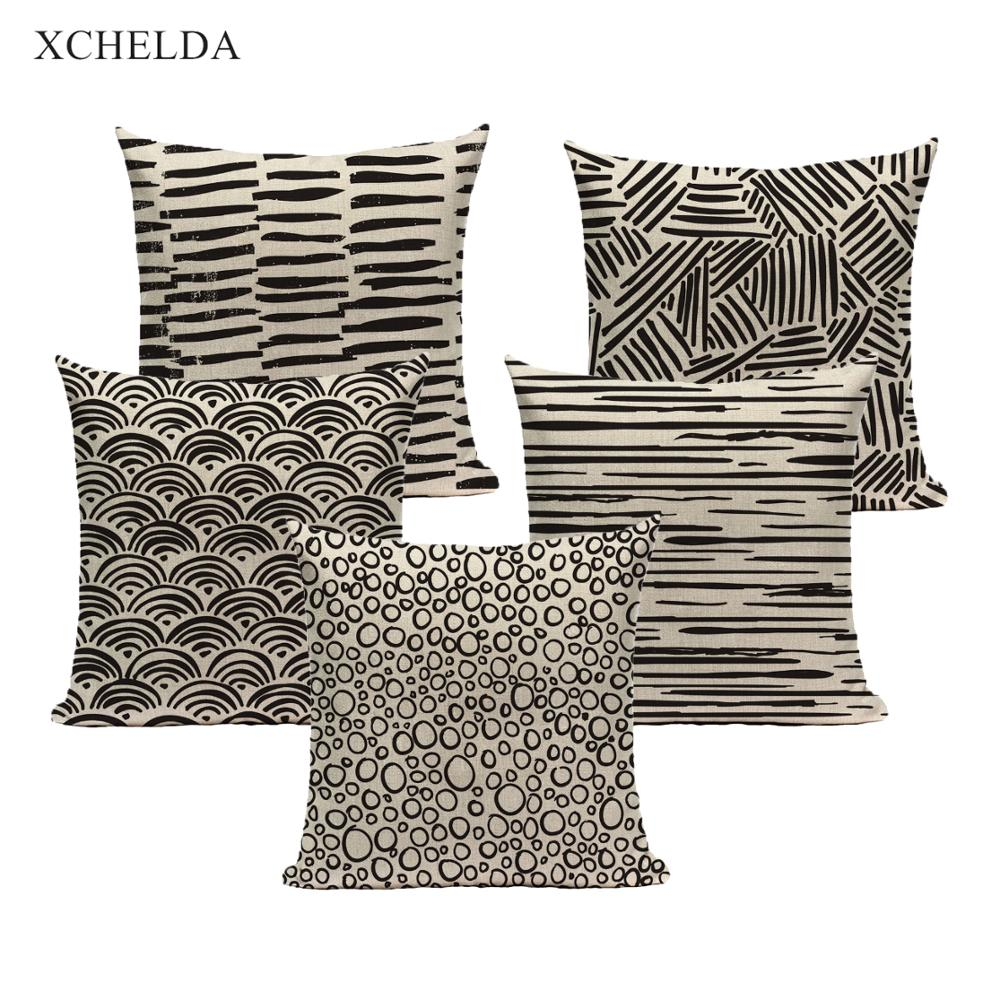 Throw Pillow Case Cotton Black Pillowcase Nordic Spots Fan Stripe 45*45 40*40 for Sofa Car Bedroom Beige fur Linen Cushion Cover